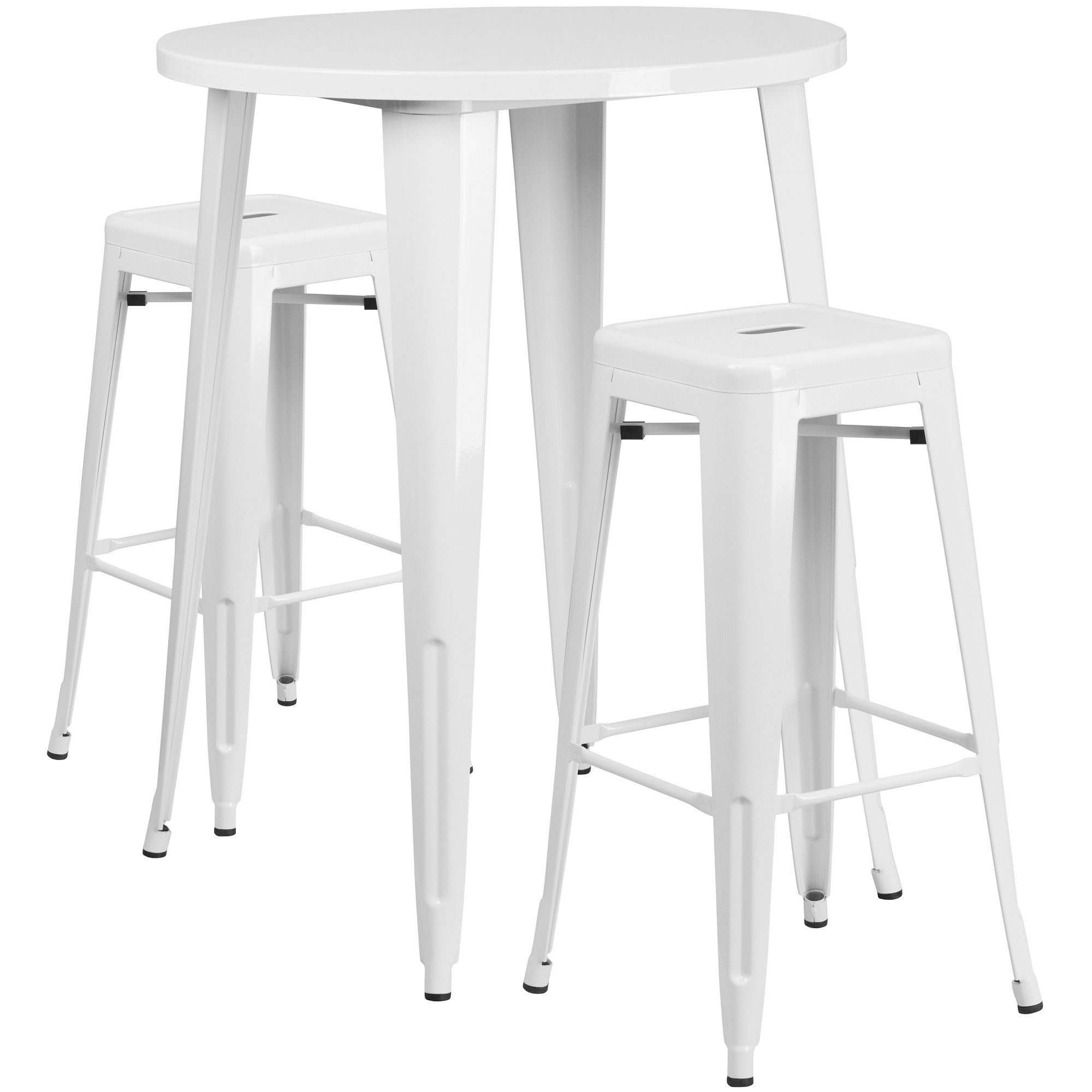 Set Of 3 White Metal Square Bar Stools And Round Bar Height Table 41 33718014 Backless Bar Stools Outdoor Bar Table Bar Table Sets