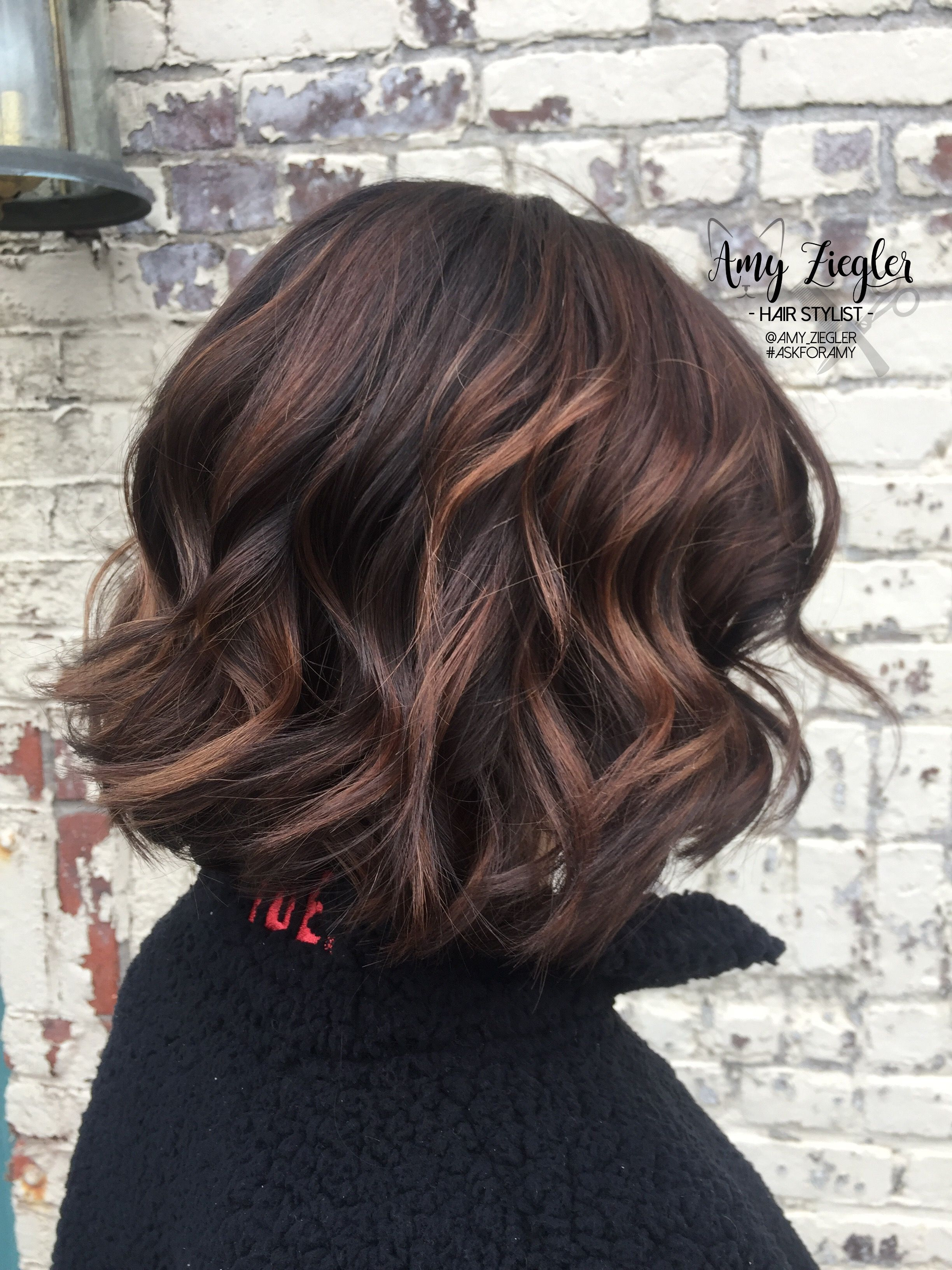 Chocolate Balayage On Short Hair By Amy Ziegler Askforamy Versatilestrands Short Ombre Hair Baliage Hair Long To Short Hair