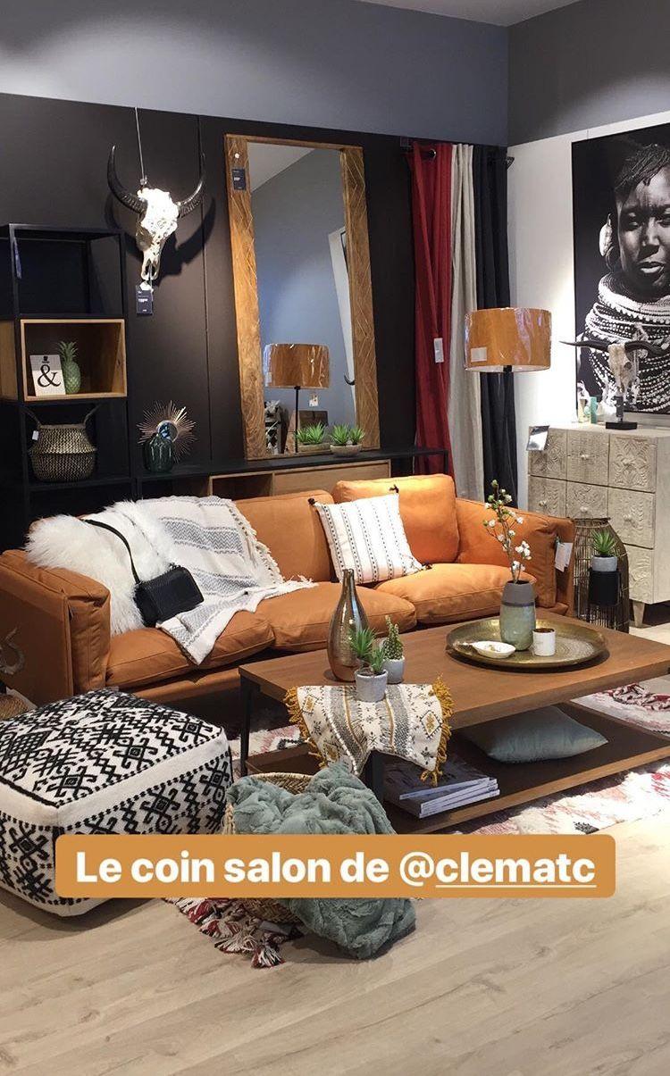 Le coin salon berbère tapis bohème canapé cuir caramel camel ...