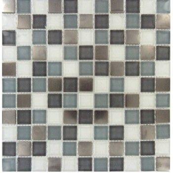 Diamond Cove 1 X 1 Glass Metal Blend Mosaic Tile Mosaic Tiles