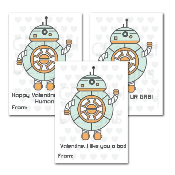 Classroom School Valentines Cards for Kids  by CBendelDesigns. Retro Robot Design with heart pattern background.