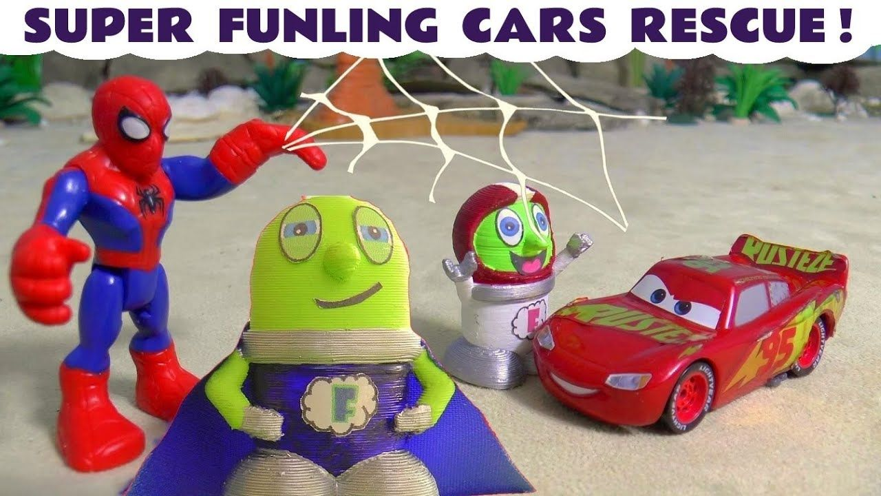 Disney Cars Toys Lightning Mcqueen Rescued By Superheroes Super Funling Disney Cars Toys Disney Cars Lightning Mcqueen