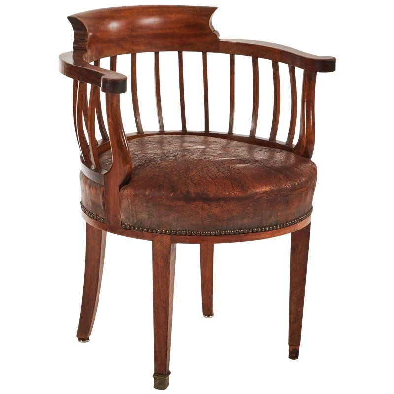 1880s England Round Wood And Leather Cushion Desk Armchair In 2019