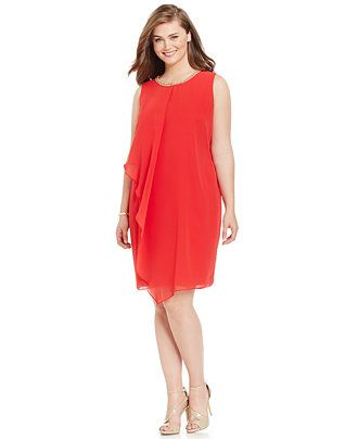 78c3427b221 MSK Plus Size Embellished Shift Dress - Plus Size Cocktail Dresses - SLP -  Macy s