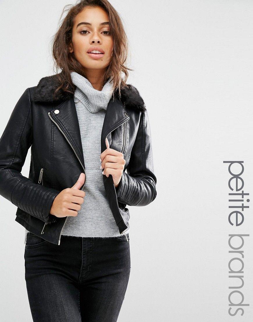 Buy it now. Miss Selfridge Petite Leather Look Jacket - Black ...
