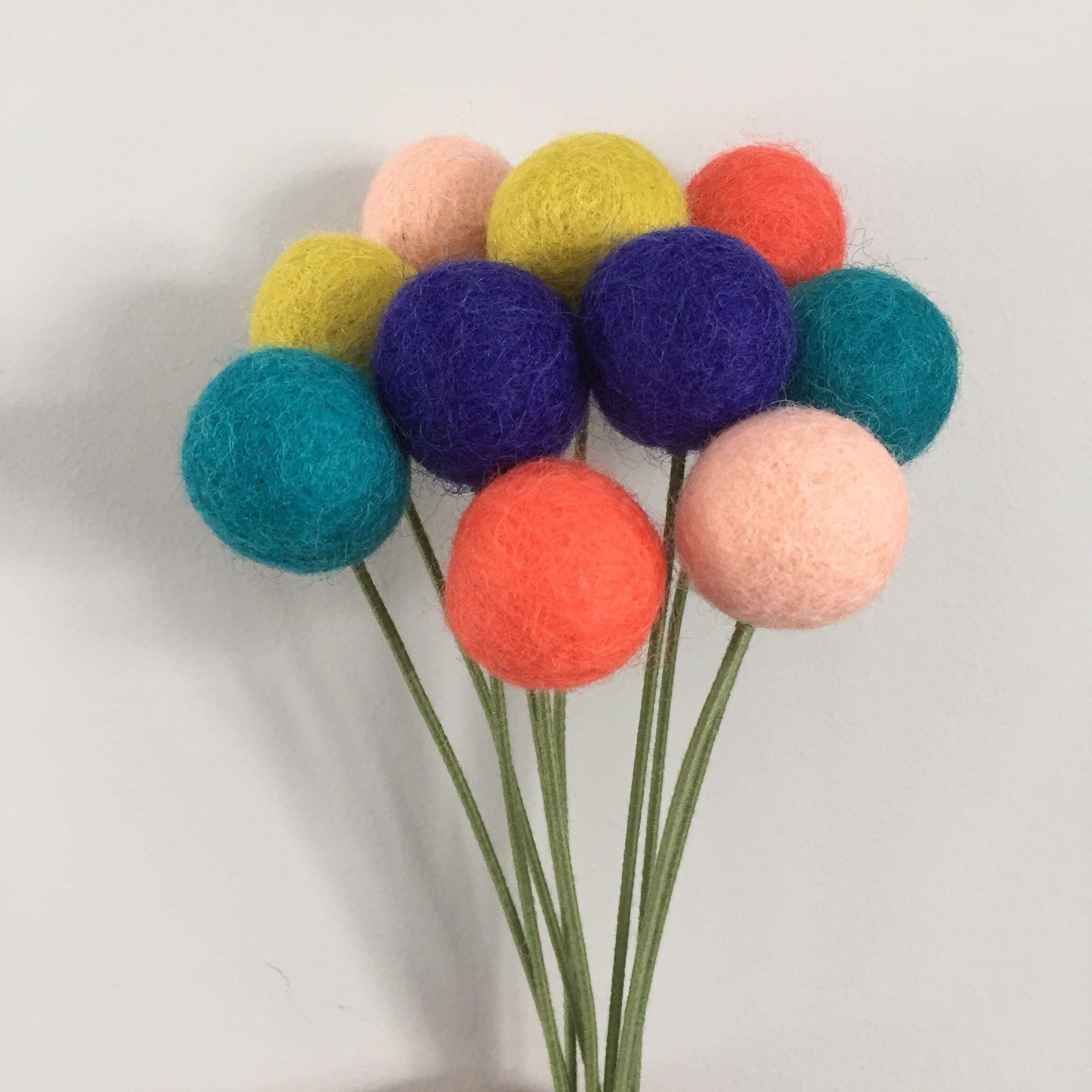 Felt ball flower bouquet table arrangement birthday party decor