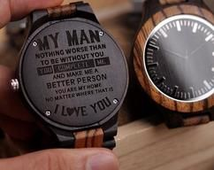 Perfect Gifts For Husband - Engraved Wooden Watch by HeavenKP on