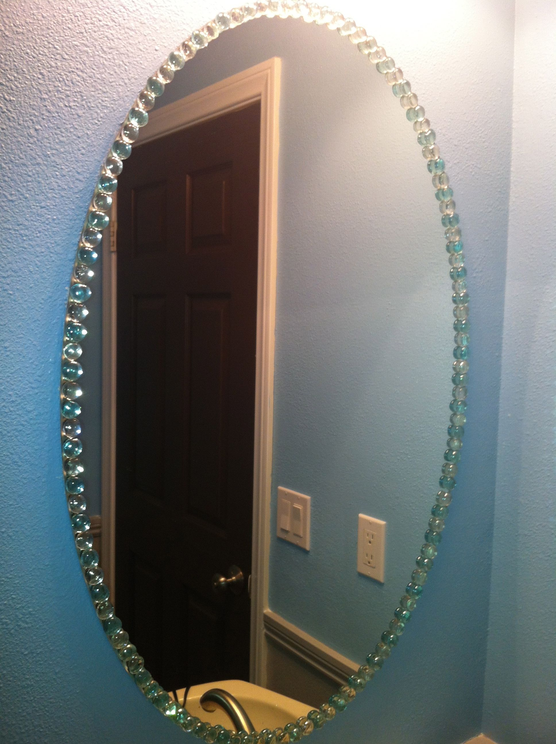 So easy! Dollar store glass pebbles hot glued onto a