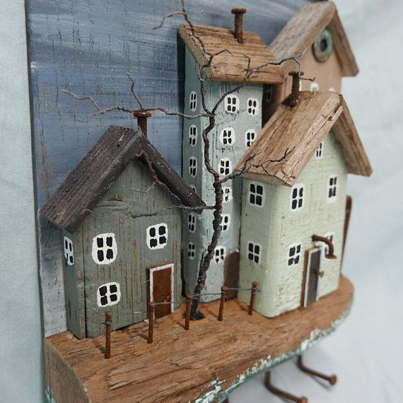 Photo of RUSTIC DRIFTWOOD COTTAGES keychain jewelry holder Seaside #cottages #d …