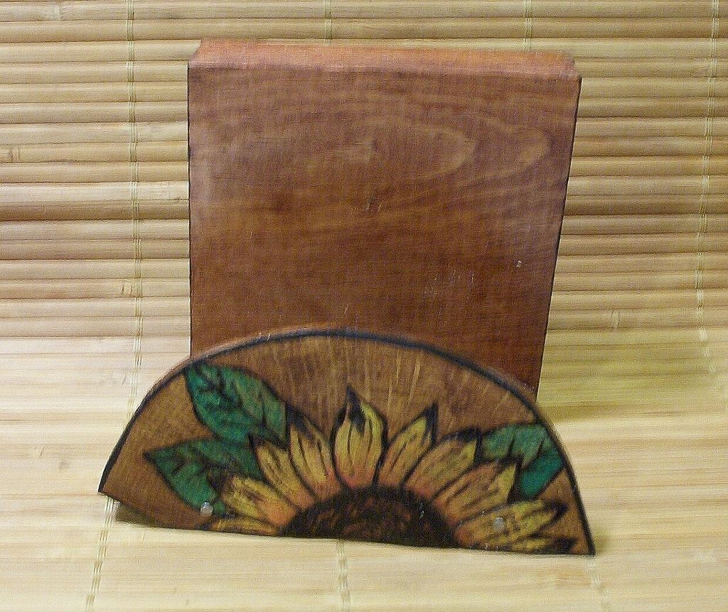 sunflower cell phone cradle pyrography wood burning approximately ...