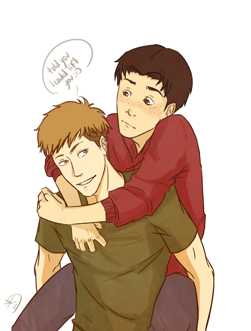 Attack on Titan ~~ Jean's clever plan: [1] Make sure he can lift Marco in the first place. [2] Sweep him off his feet. [3] Carry him to bed, perhaps? :: I think it'll work. Jean and Marco
