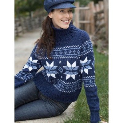 Bernat Satin Snowflake Sweater. Yarnspirations.com. Knitted jumper ...