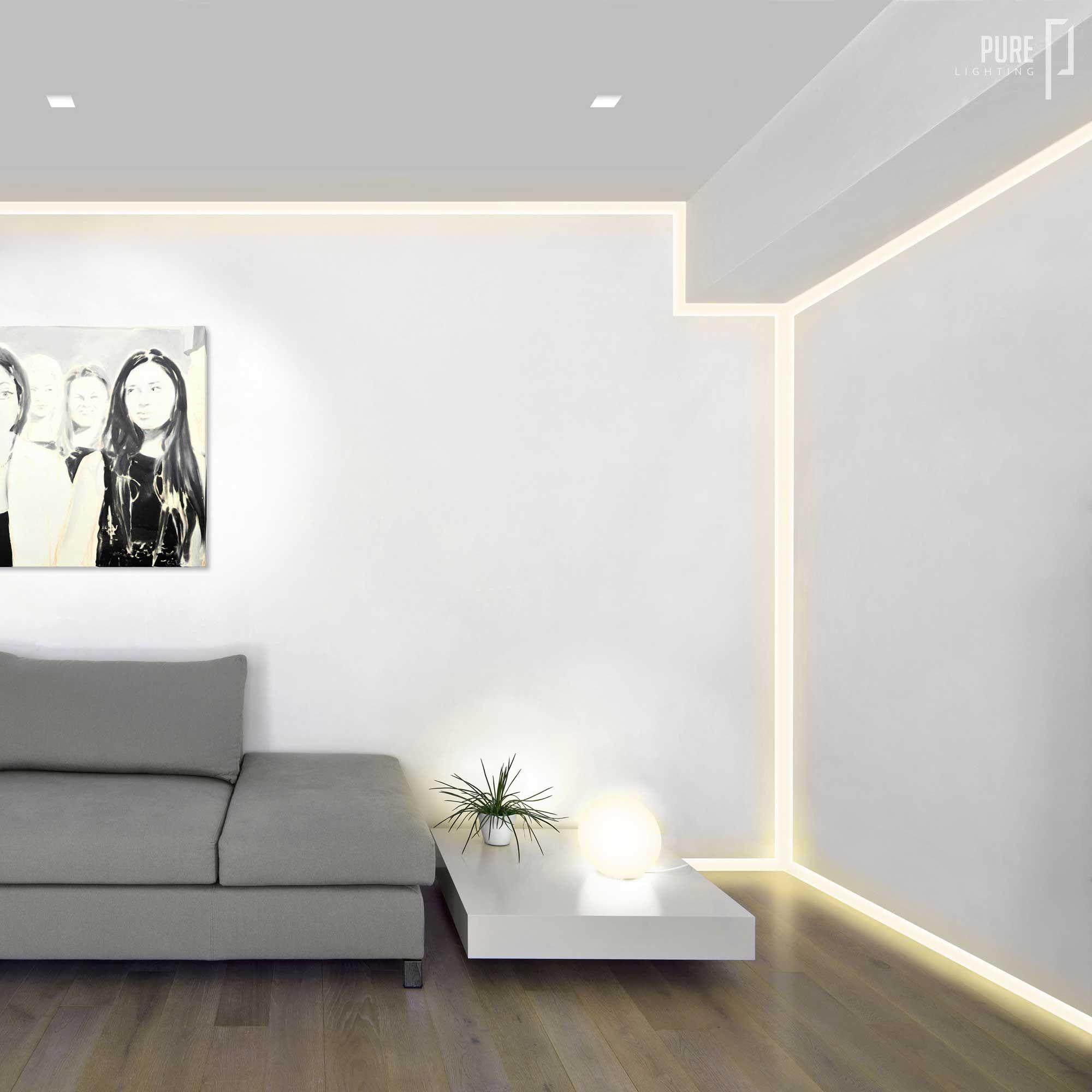 Verge plaster in led system provides illumination to for Living room 2700k or 3000k