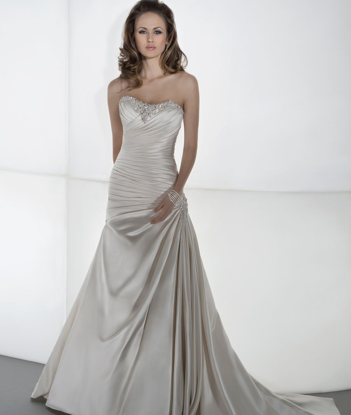 Demetrios White Drop Waist Ballgown With Beaded Bodice: Sposabella Style 4304 By Demetrios