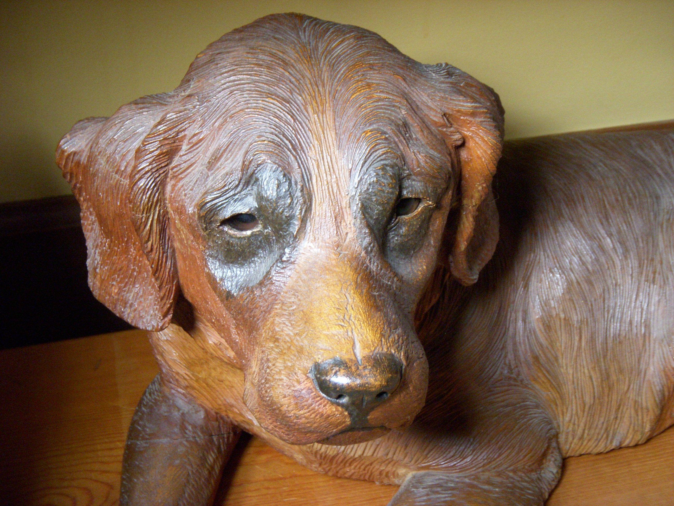 Swiss Carved Dog Black Forest Circa 1880 Alpenholz Antiques