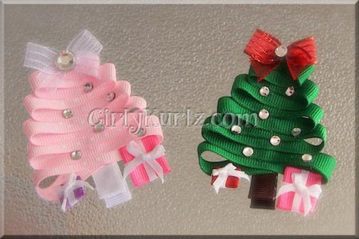 Christmas Tree Hair Clip Christmas Tree Hair Pink Christmas Tree Christmas Hair Bows