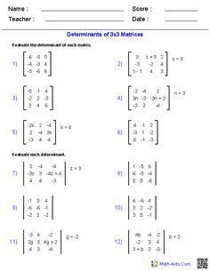 Matrices Worksheets Algebra 2 Worksheets | math | Algebra 2