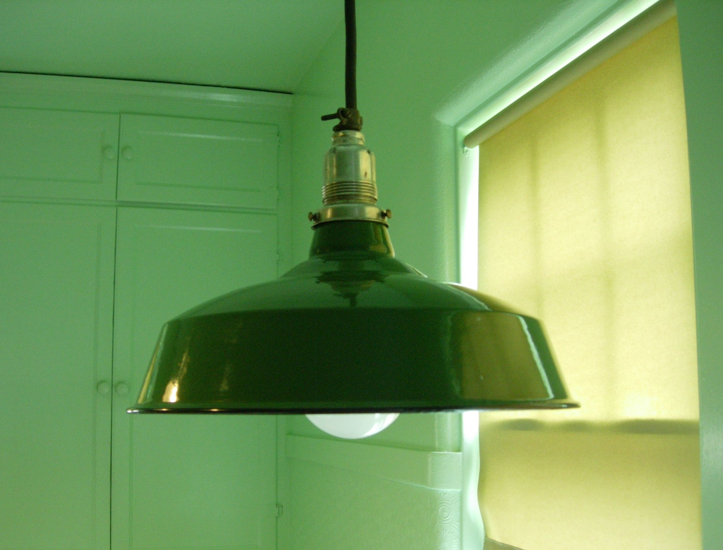 Great shape two tone painted metal v raw metal tied cord porcelain gas station light the cord suspends the light green or white arubaitofo Gallery