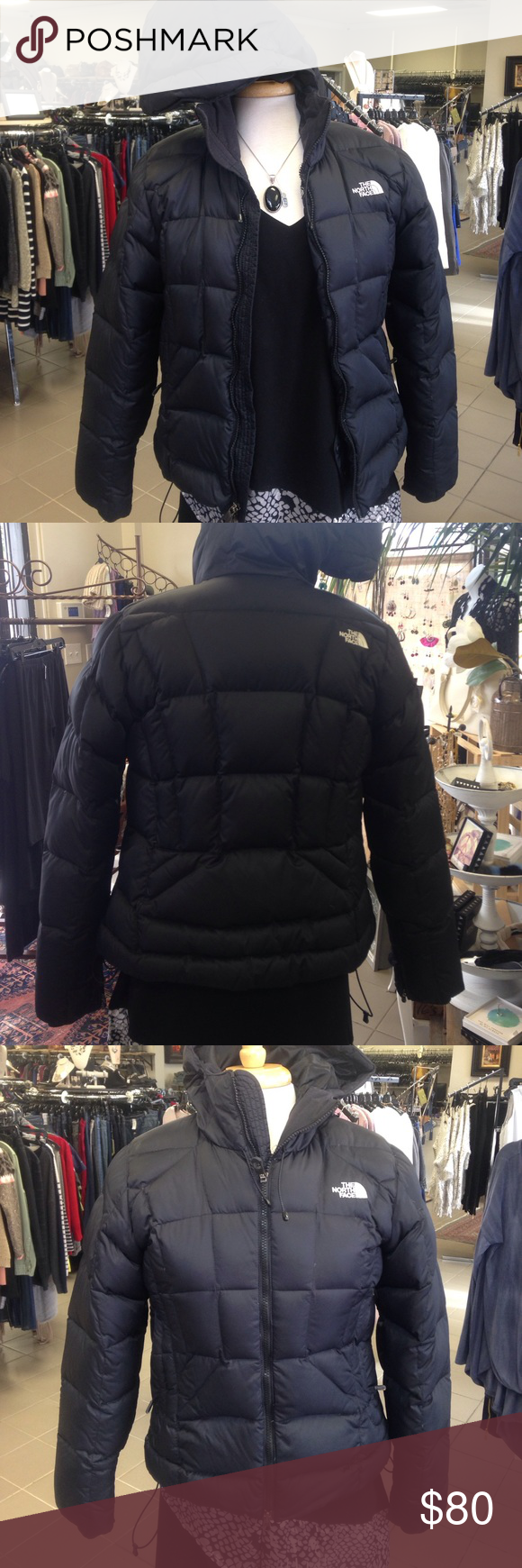 North face puffer hooded coat North face down filled coat