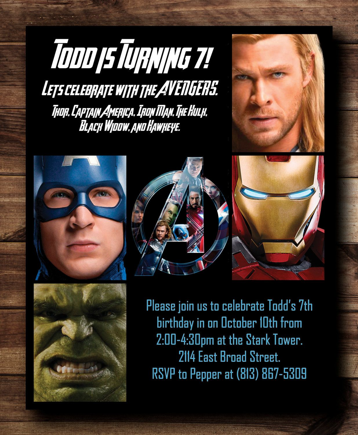Avengers Birthday Party Invitation Card Digital By CelebrationCity 1500