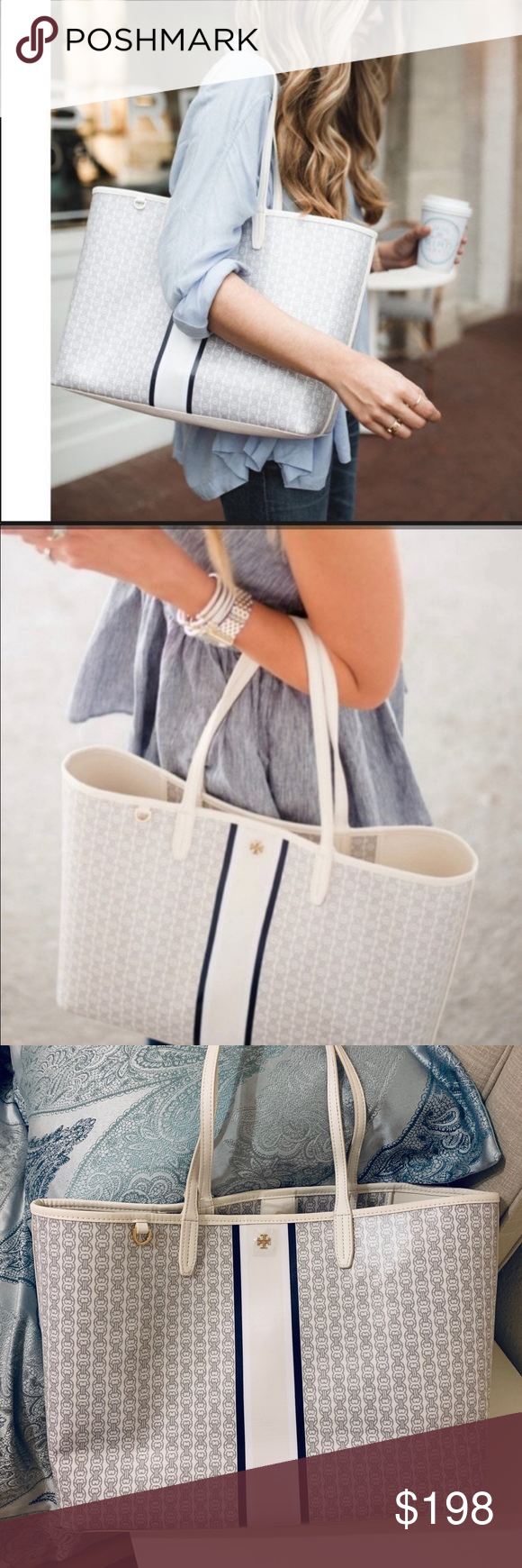 Tory Burch Gemini link tote in ivory color Holds a 15 laptop, a pair of flats, a continental wallet, a small umbrella and a phone Water-resistant coated canvas Magnetic snap  closure Shoulder straps with 9.16 (23 cm) drop 1 interior hanging pocket Height: 11.55 (29 cm); length: 15.54 (39 cm); depth: 5.78 (14.5 cm) Popular ivory color Tory Burch Bags Totes #smallumbrella Tory Burch Gemini link tote in ivory color Holds a 15 laptop, a pair of flats, a continental wallet, a small umbrella and #smallumbrella