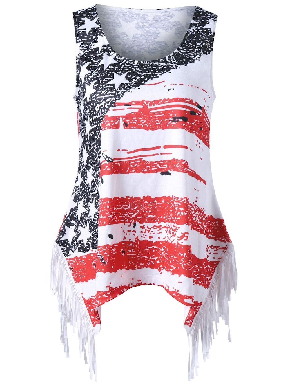 19010f77e0e7e Plus Size American Flag Fringed T-shirt - COLORMIX XL