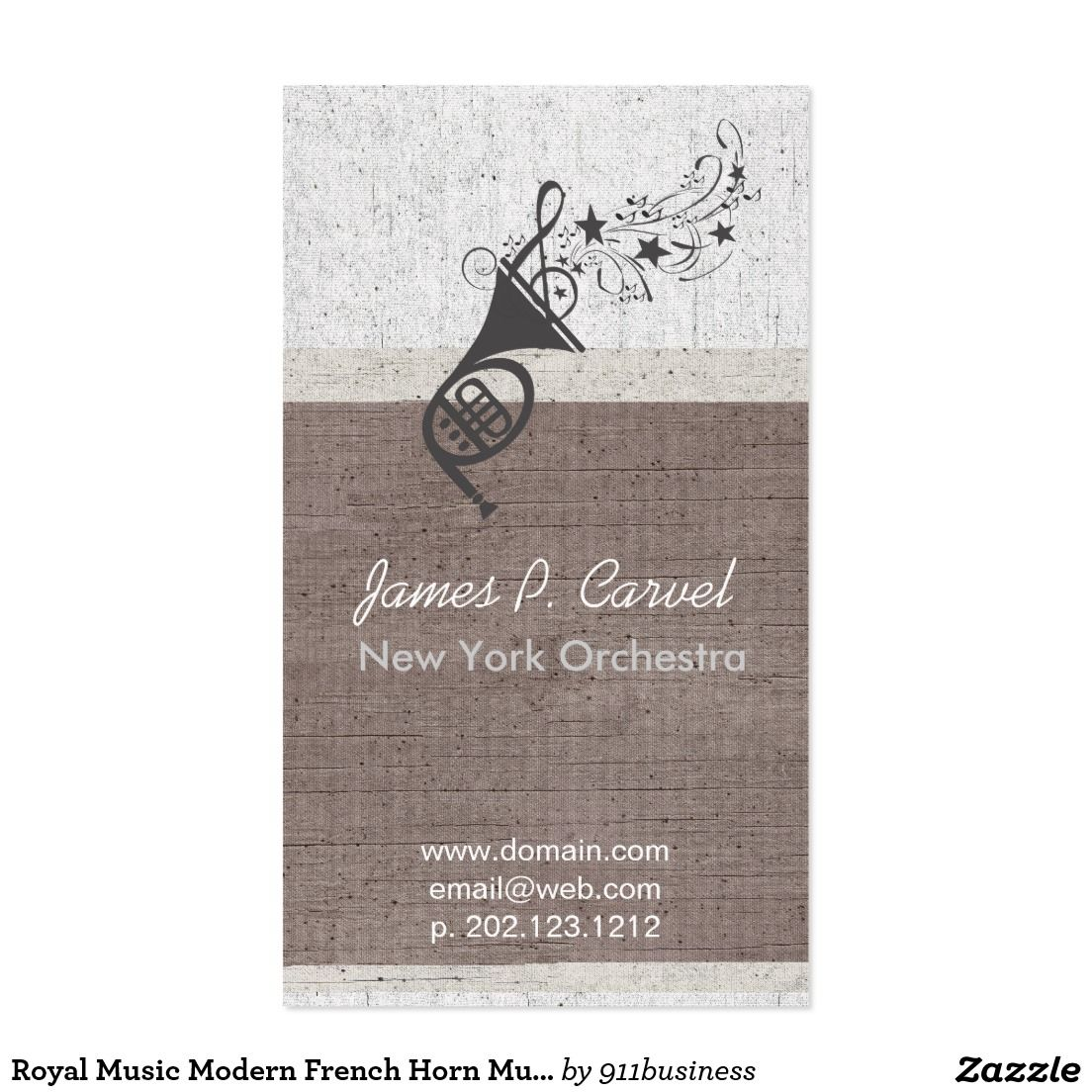Royal music modern french horn music band teacher business card french horn business card for band a french horn music logo on a aged linen baclground great for band members and for music teachers colourmoves