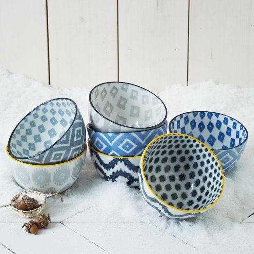 Pad Printed Bowls Gray Ikat West Elm