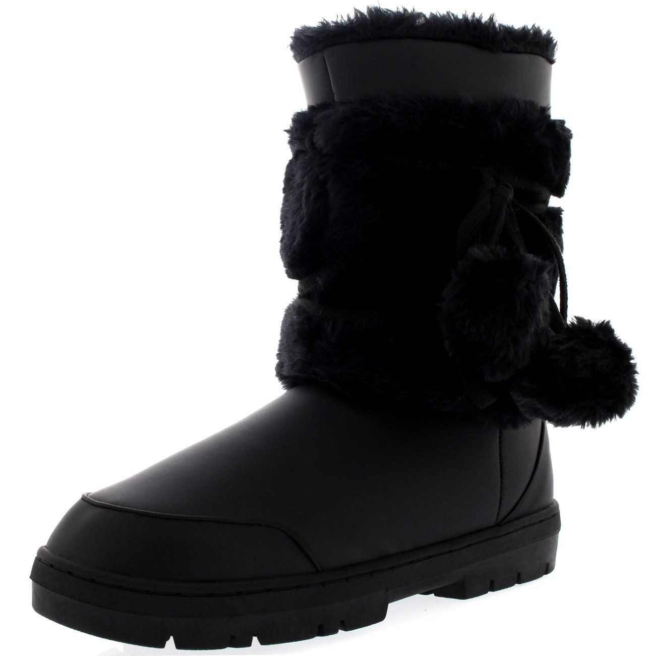 Womens Pom Pom Fully Fur Lined Waterproof Winter Snow Boots, Size ...