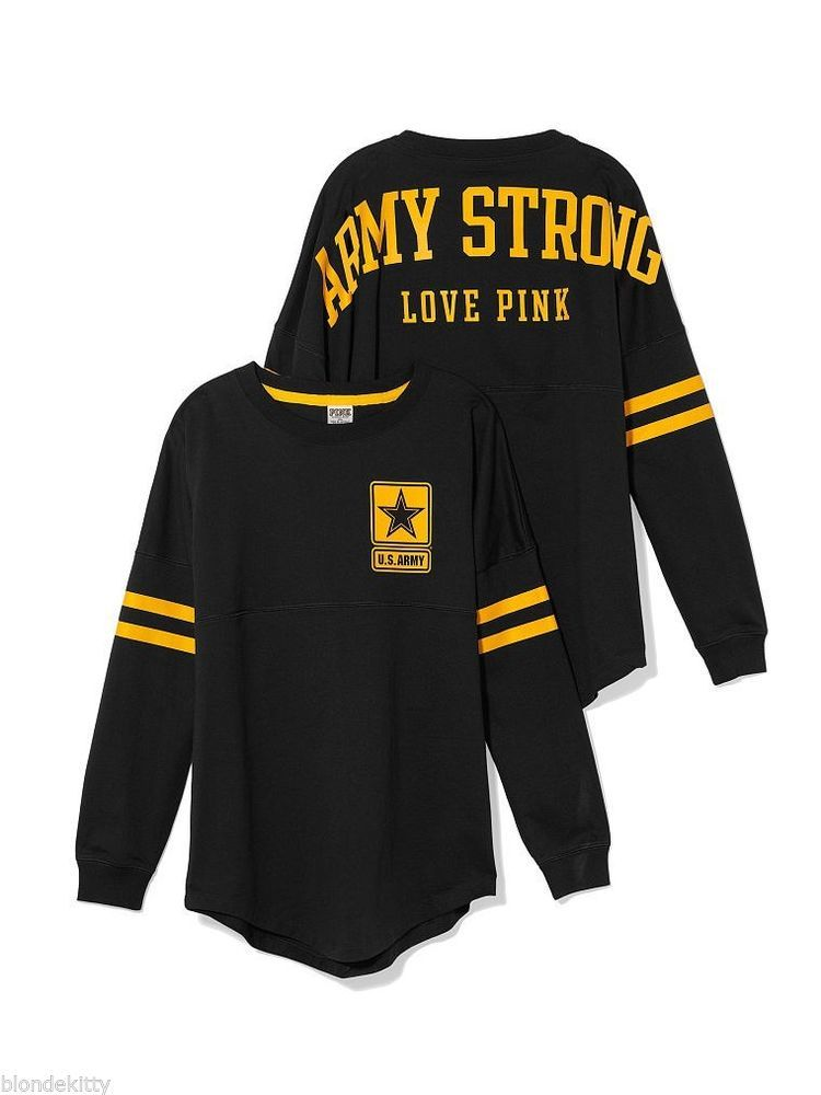 Victoria s Secret LOVE PINK ARMY STRONG Varsity Crew Top Shirt NwT Black S  M  VictoriasSecret  SweatshirtCrew efc468b5c
