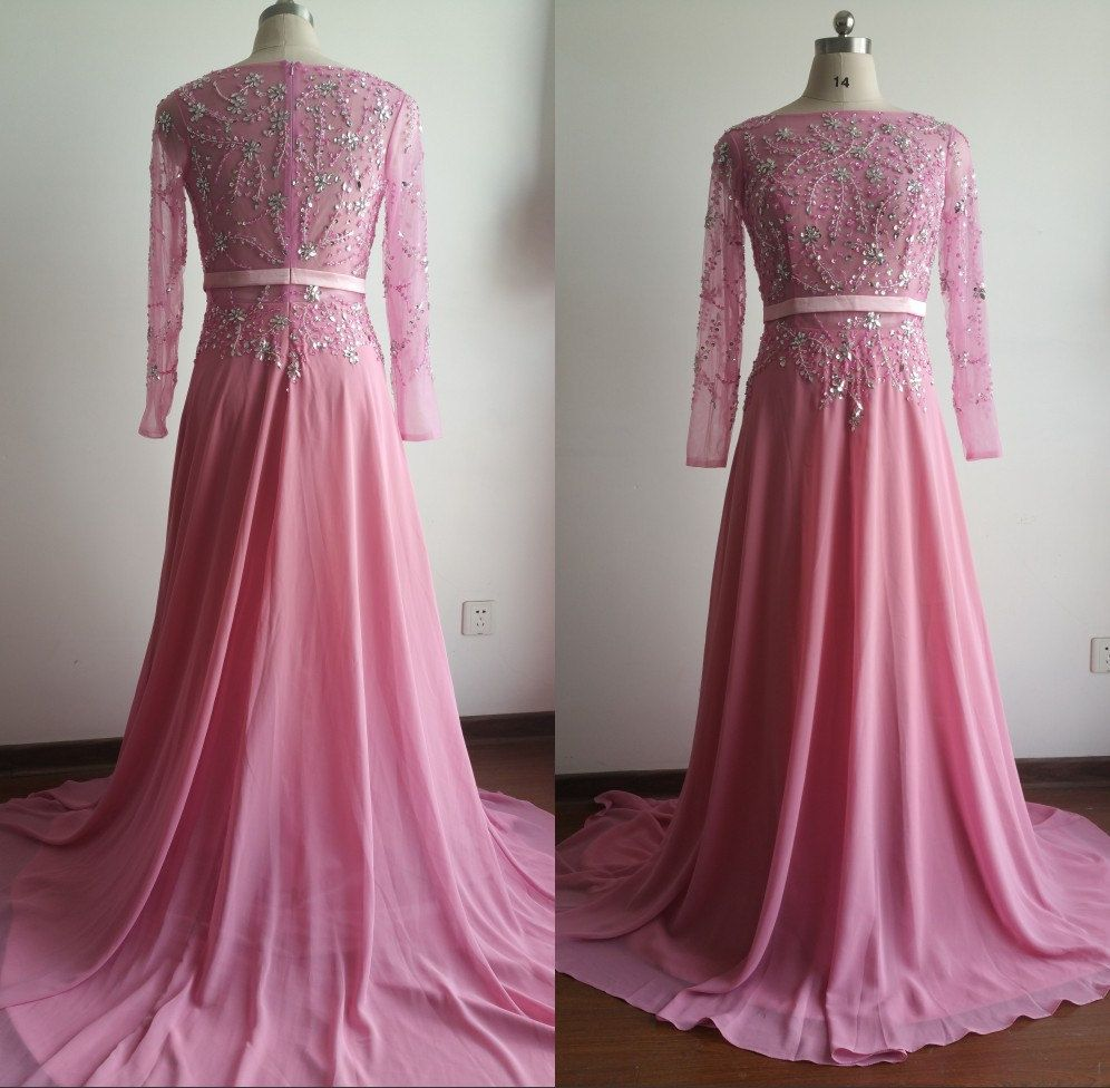 Light Pink Evening Dresses With Long Sleeves-Long Prom Dress-Plus ...