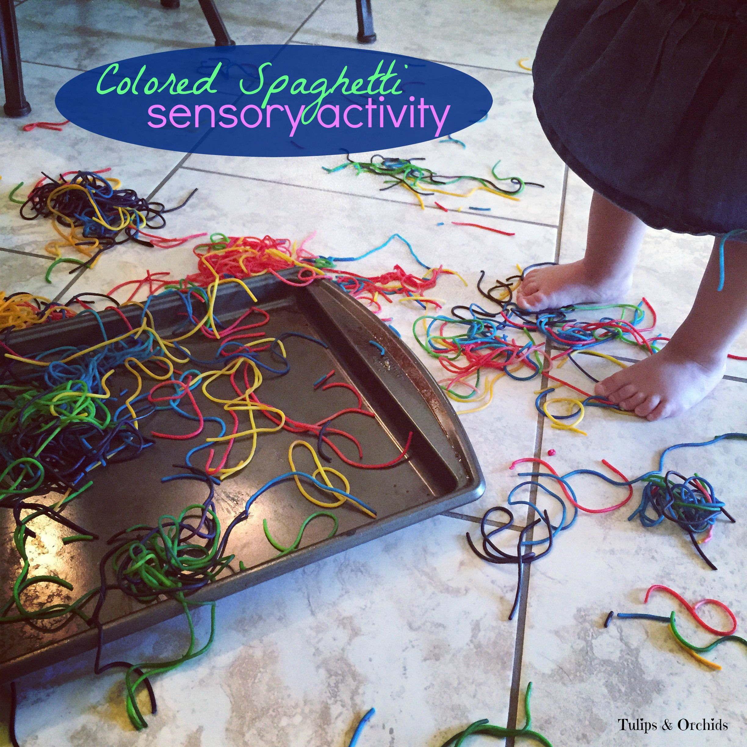Activities for colors for toddlers - Utilize This Colored Spaghetti Activity To Teach Toddlers About Textures And Colors And Children About