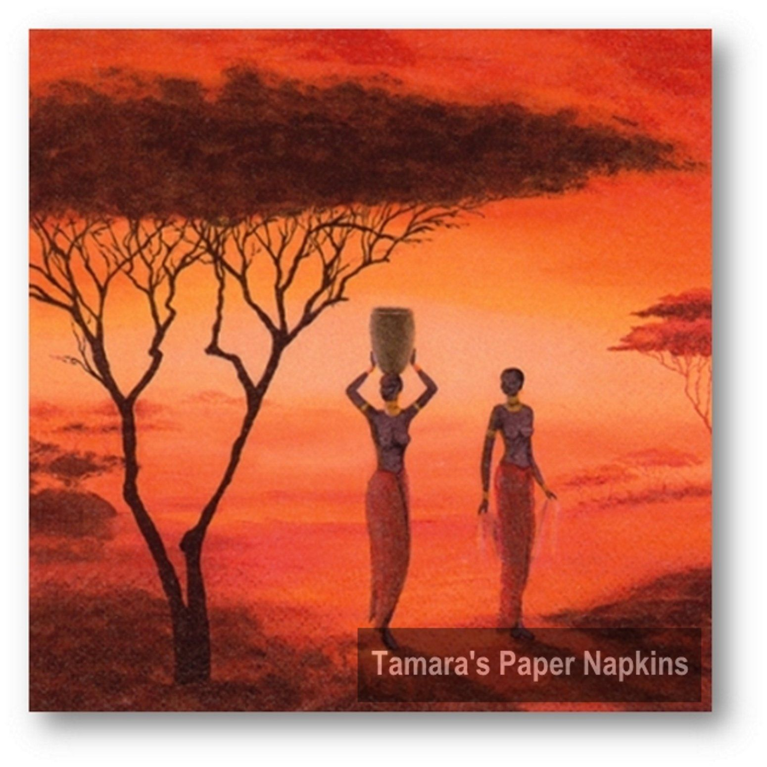 315 african women 4 Single paper decoupage napkins.Africa sunset