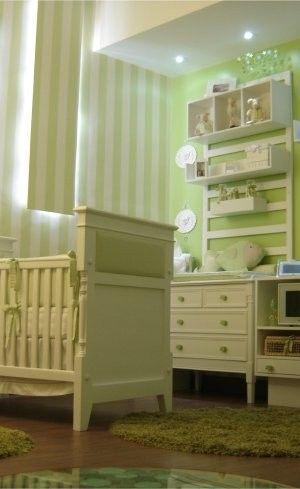 Casa Cor Quarto De Bebê Fundo Do Mar Verde E Branco