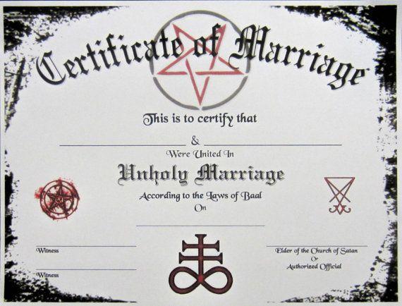 Satanic Certificate Of Marriage Plus Bonus Wedding Transcript
