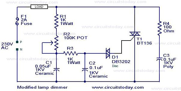 Modified lamp dimmer circuit – Electronic Circuits and Diagram ...