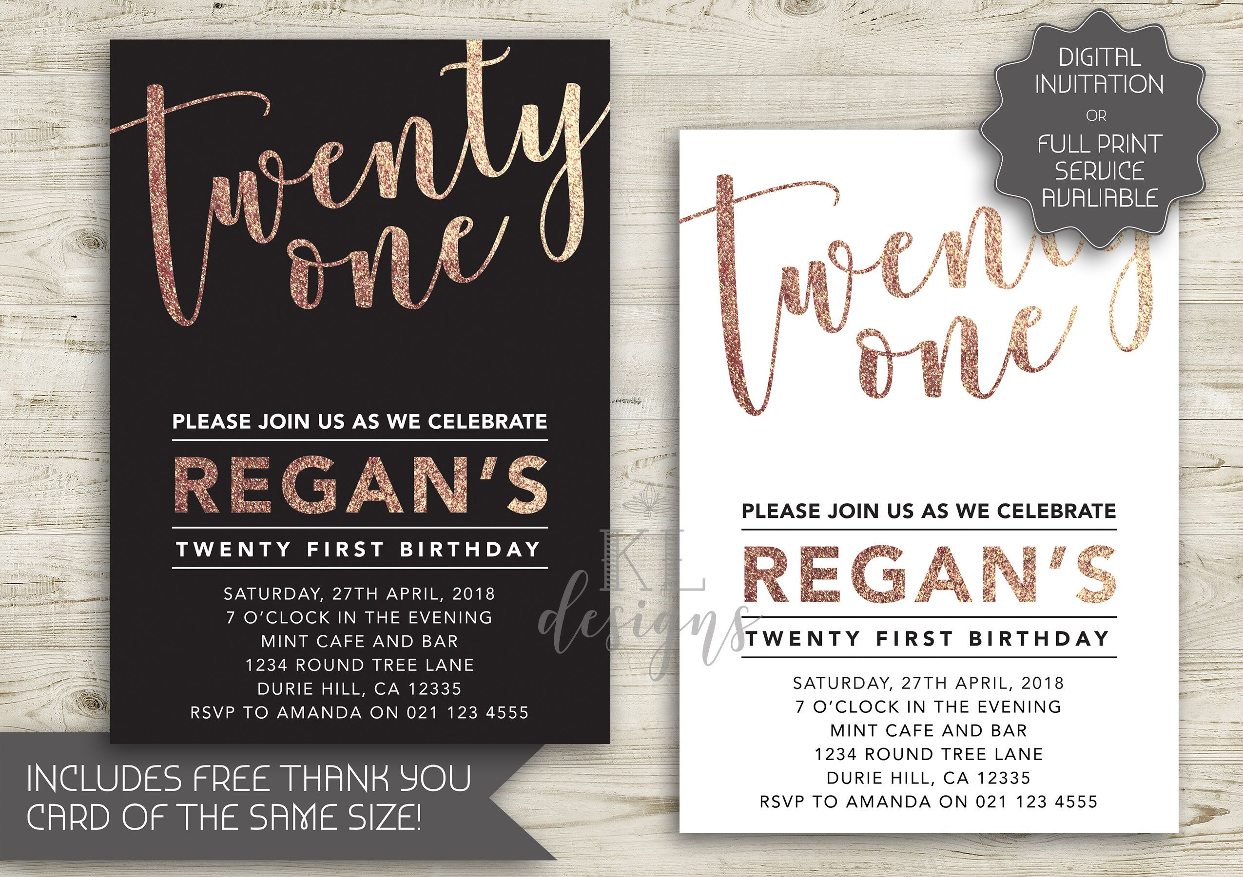 Rose Gold Foil 21st Birthday Invitation Printable Invitation