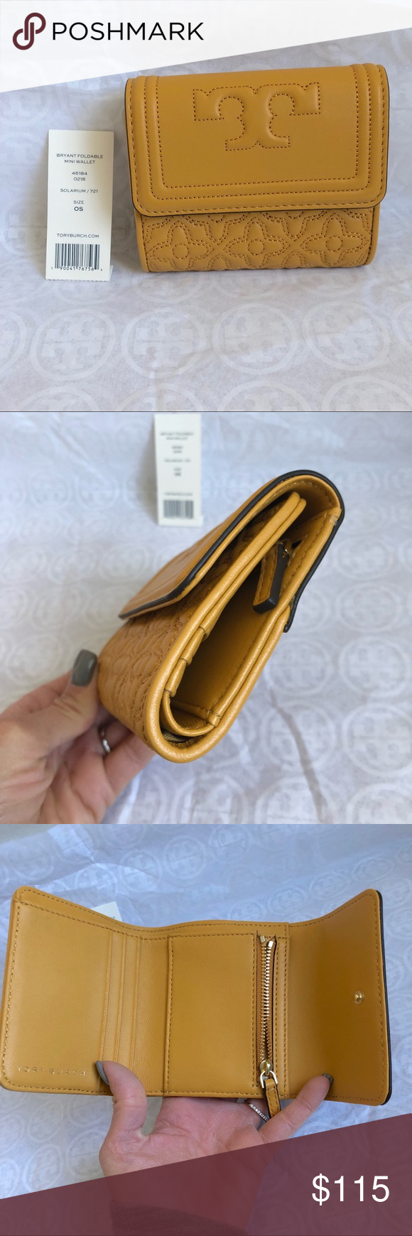 896139a601eb Tory Burch mustard Bryant mini foldable wallet Adorable!! Brand new with  tags