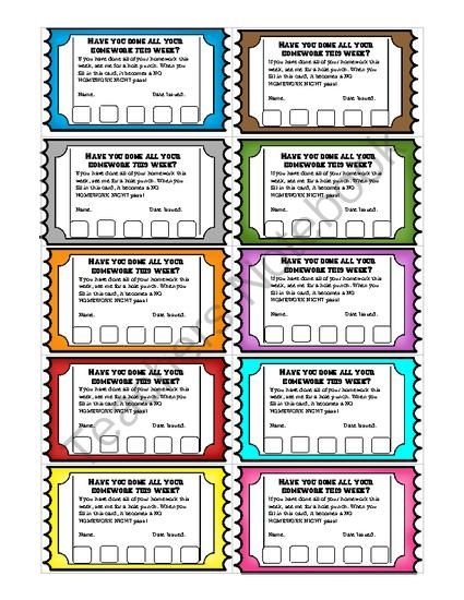 Homework Reward Punch Cards An Individual Student Incentive Student Incentives Homework Incentives Student Rewards