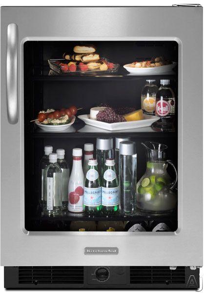 Kitchenaid Kurg24 24 Undercounter All Refrigerator With 5 7 Cu Ft Capacity Exterior Temperature Control All Refrigerator Kitchen Aid Compact Refrigerator