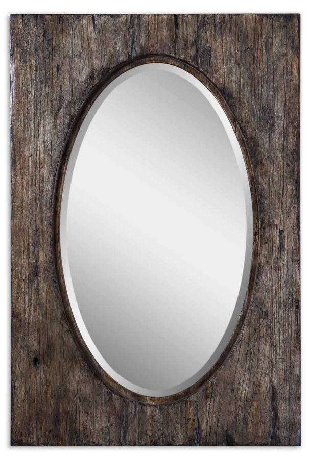 Oval Mirror With Aged Wood Frame Hitch