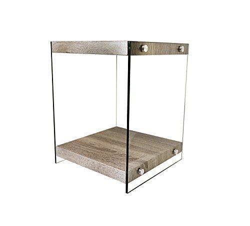 BonVIVO® Designer Couchtisch Stella, Beistelltisch In Moderner Glas Holz  Kombination, Eiche