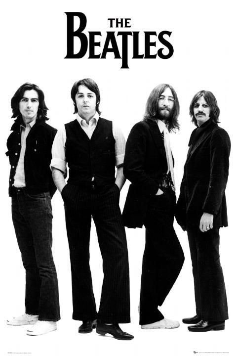 The beatles john lennon posters beatles poster featuring a black and white shot of the band against a white background this beatles poster features all