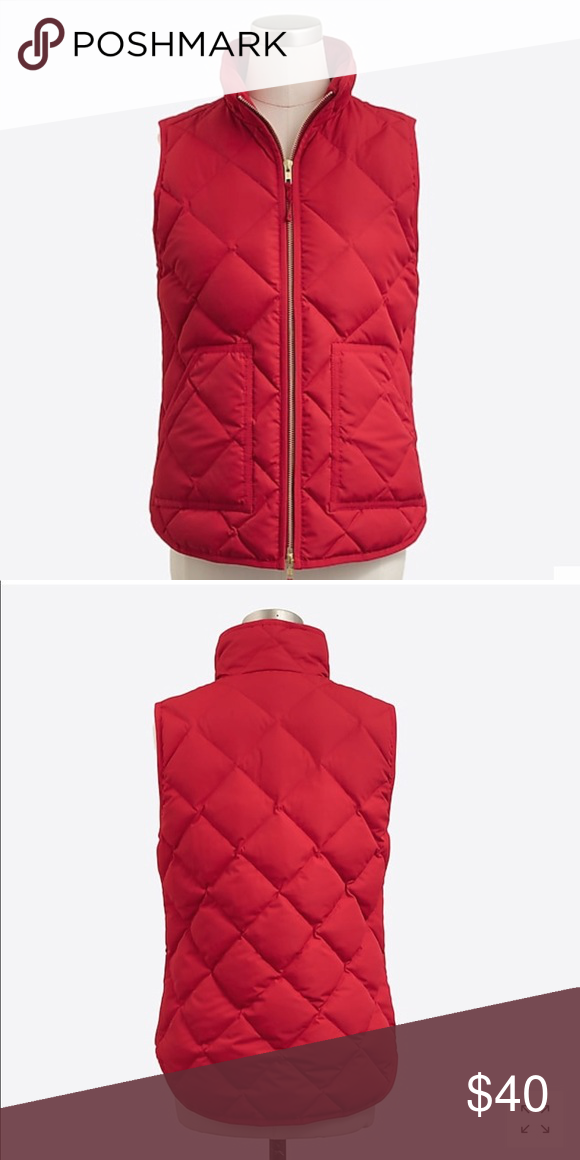 d59a3a183 J. Crew Quilted Vest Red Sz S In good condition. Size S. Two front ...