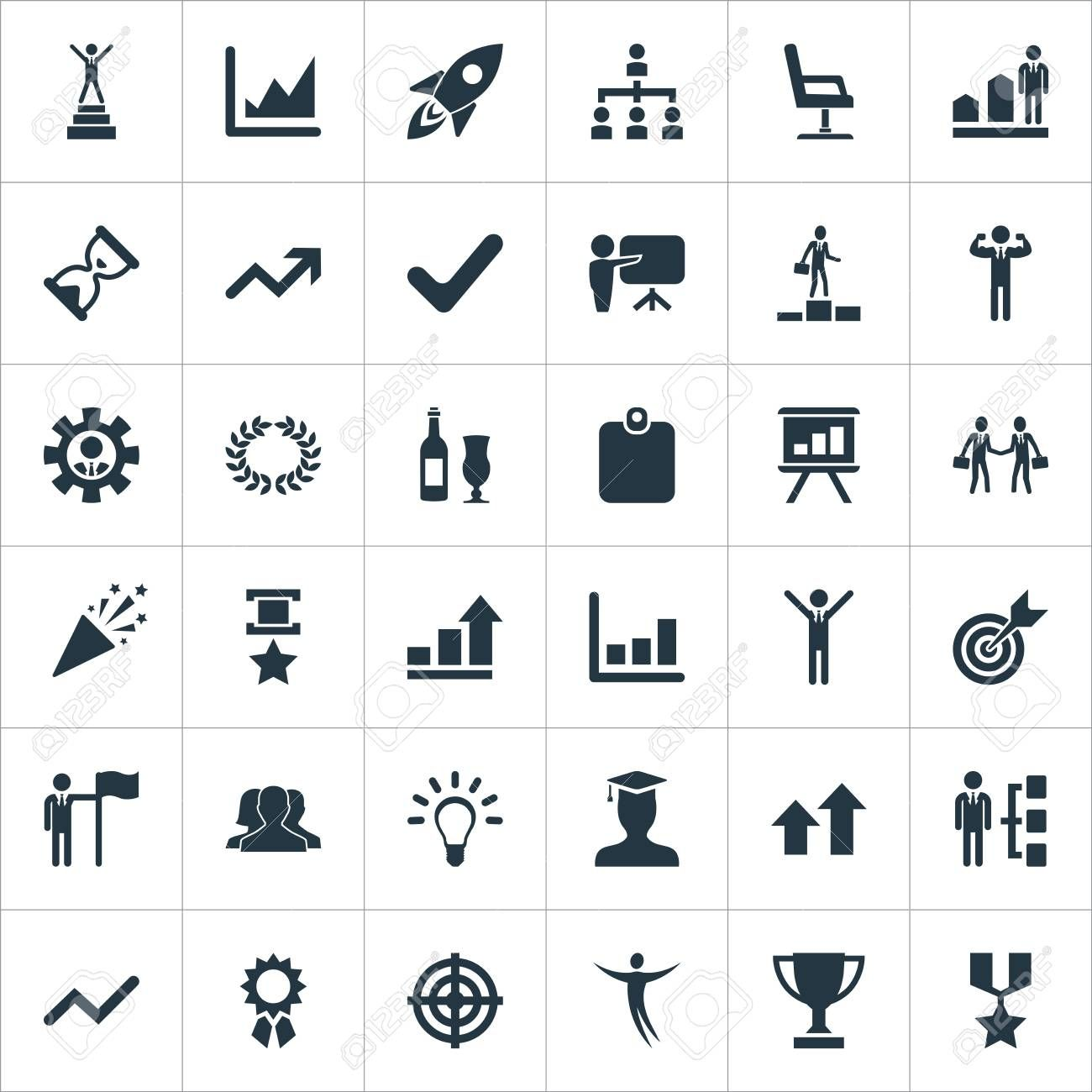 Vector Illustration Set Of Simple Winner Icons. Elements