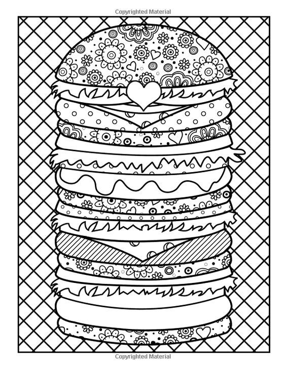 Hamburger coloring page | Coloring Pages for Adults | Pinterest ...