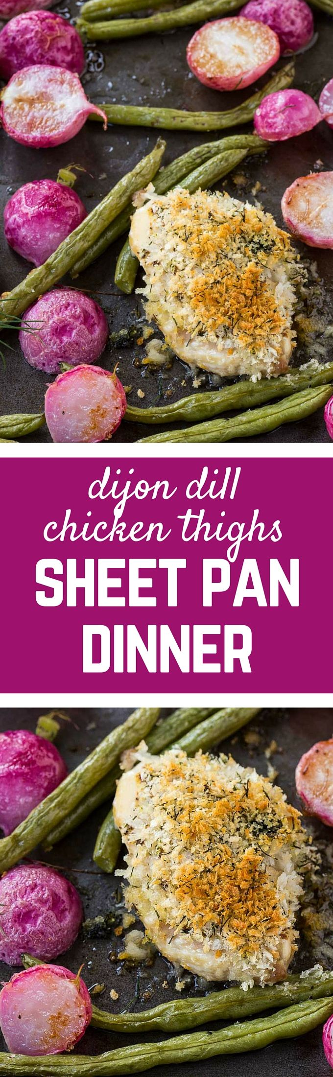 Crispy chicken thighs baked with dijon and dill are great on their own, but with the addition of roasted green beans and radishes, you have a perfect springtime sheet pan dinner. Get the easy recipe on RachelCooks.com! #sponsored @justbarechicken