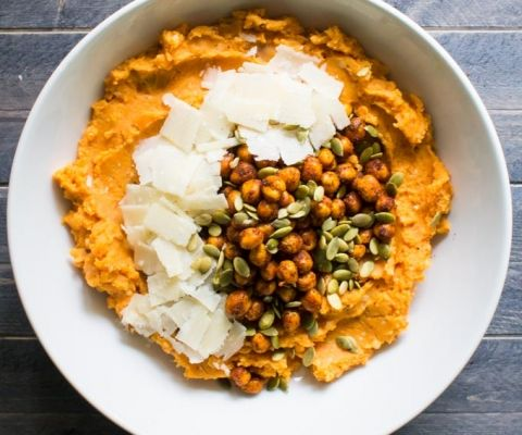whipped parmesan sweet potatoes with spiced crispy chickpeas | immaEATthat.com