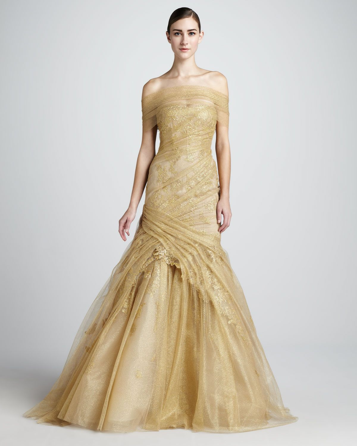 Monique Lhuillier Gold Ruched Lace Off Shoulder Trumpet Couture Gown