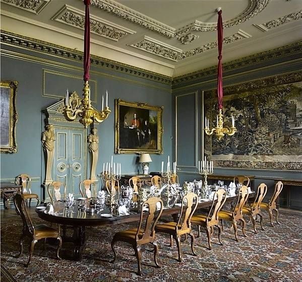 Grand dining room with tapestry and Queen Anne chairs